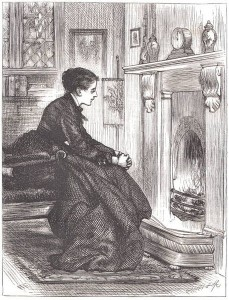 The wife of a diabetic gazing into the fire in the days before television