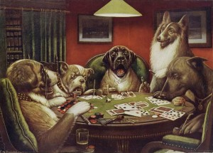 Hypo dogs and Neville the Newshound enjoy a round of diabetic poker