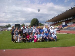 Obligatory group photo, football style in recognition of the Junior Cup event