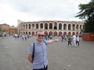 "Me in Verona. The sharp-eyed will notice the giveaway ""pump-bulge"""