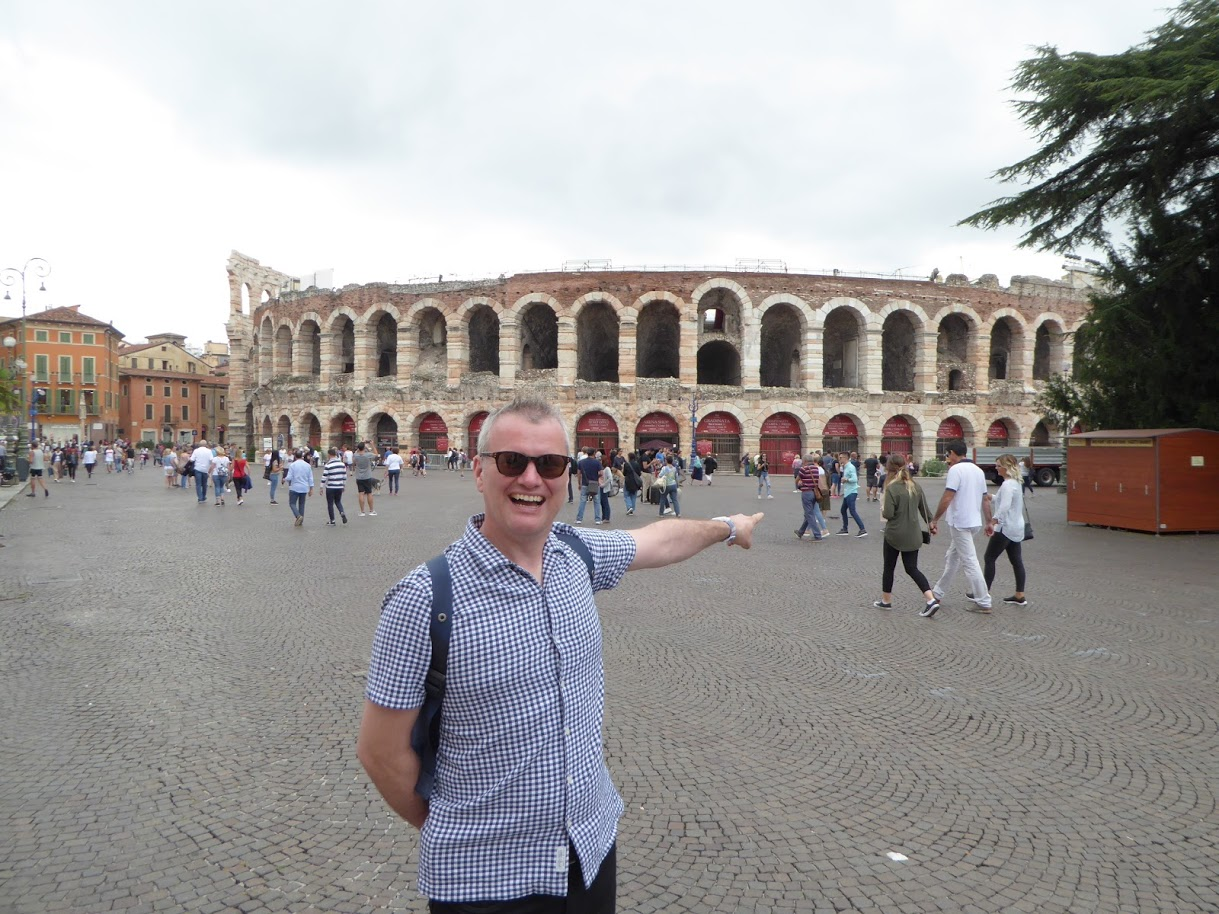 """Me in Verona. The sharp-eyed will notice the giveaway """"pump-bulge"""""""